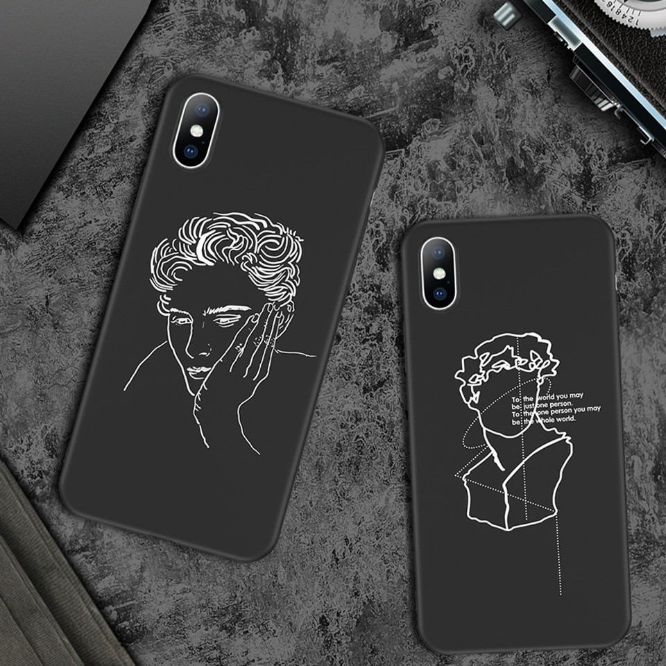 Black and White Soft Phone Case for iPhone