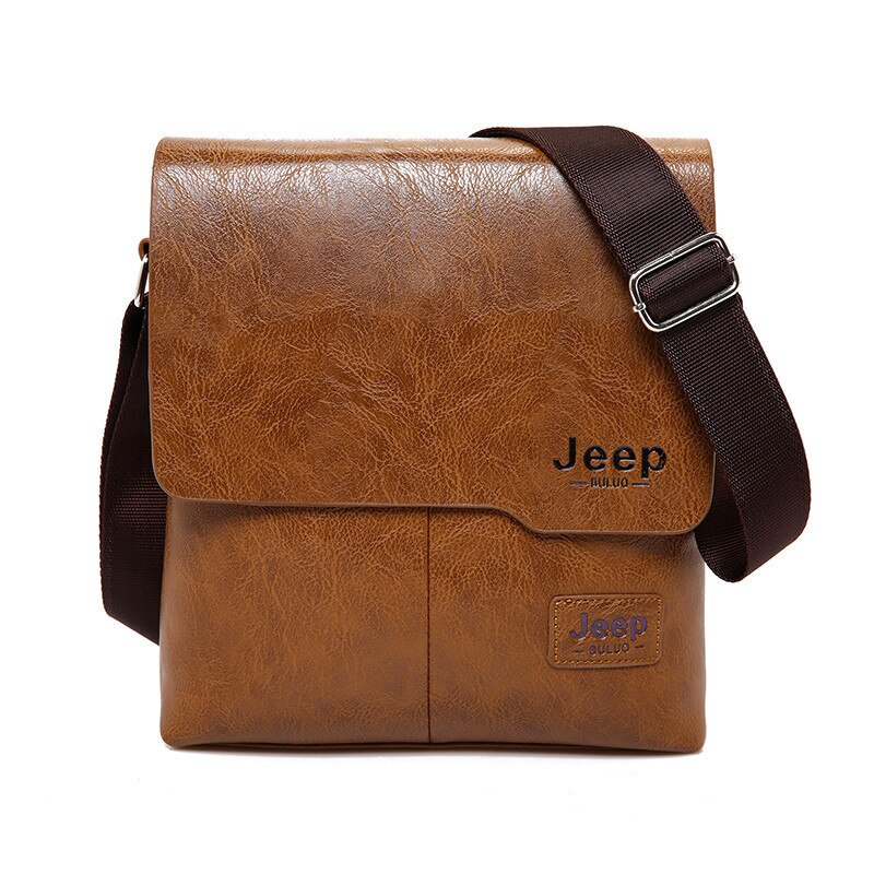 Men's Leather Messenger Bag with Phone Case