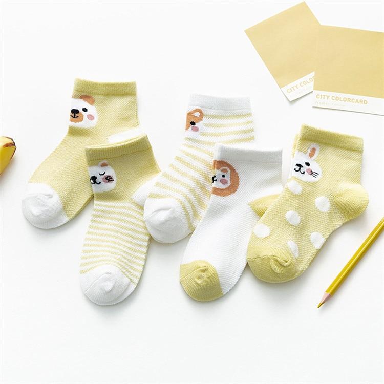 Baby Animal Print Pastel Color Socks 5 Pairs Set - 1MRK.COM