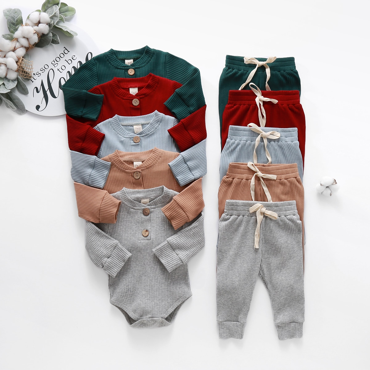Baby Solid Clothes Long Sleeve Romper and Pants Set - 1MRK.COM