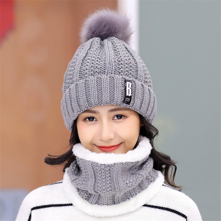 Girls Winter Knitted Beanies Hat Set = 1MRK.COM