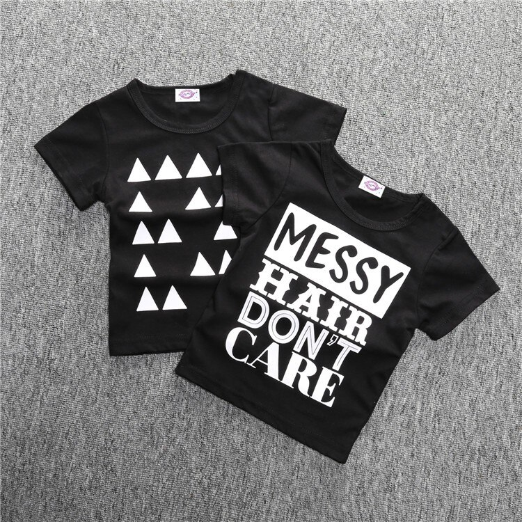 Black and White Cotton Baby Boys T-Shirt