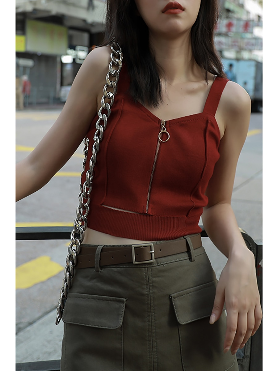 Women's Zippered Crop Top = 1mrk.com