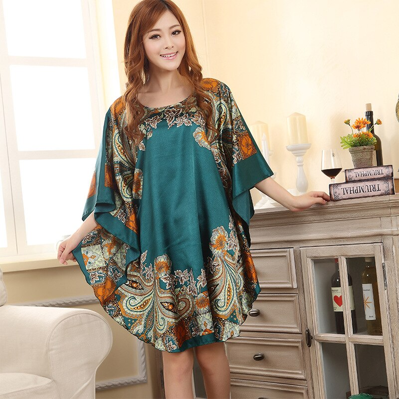 Chinese Style Colorful Printed Women's Rayon Nightgown
