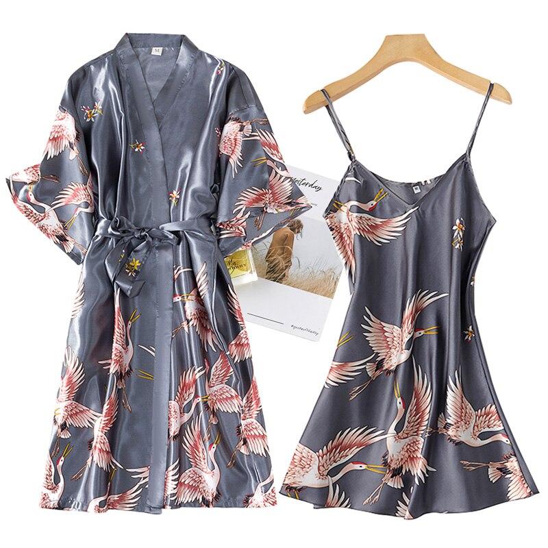 Women's Rayon Lace Trim Bathrobe with Night Dress Set