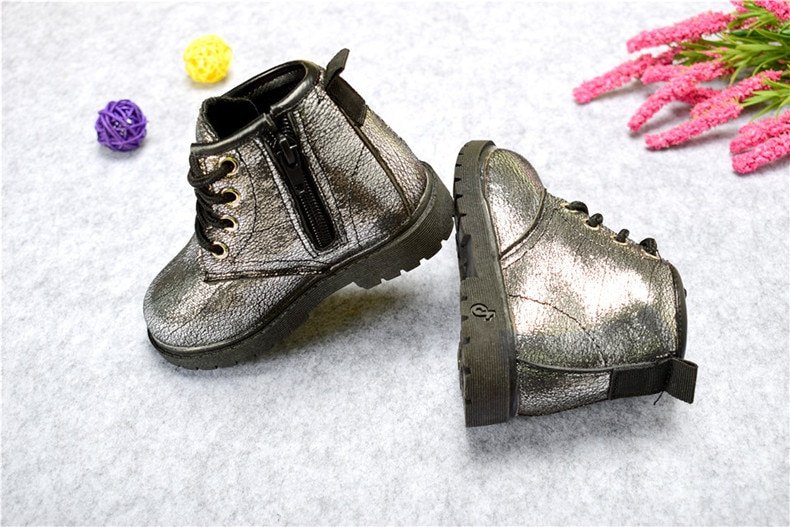 Flower Patterned Leather Boots for Girls