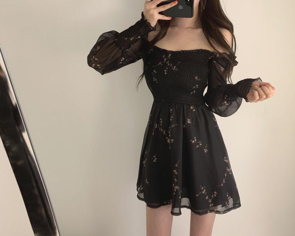 Women's Floral Printed Puff Sleeve Dress 1MRK.COM